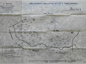 Emplacements des émetteurs allemands en 1918 secteur Montdidier-Compiègne (source SHD)