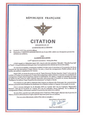 Citation à l'ordre de l'armée (source 44° RT)